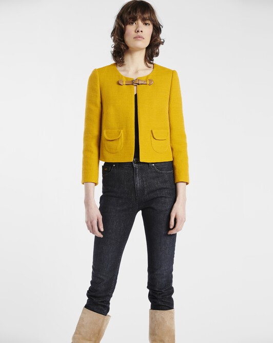 Jacket in cotton dobby - Bouton d'or
