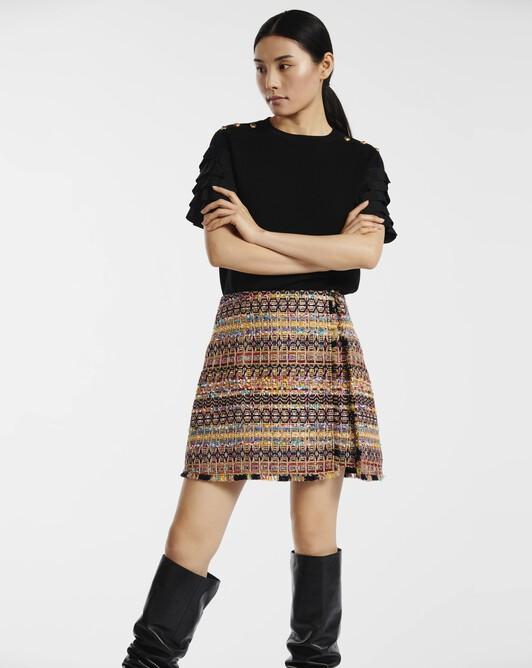 Jupe en tweed mosaïques - multicolore