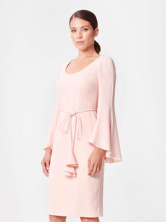 Satin-back crepe dress - Poudre