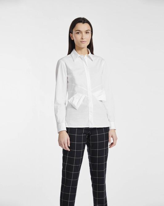 Shirt in stretch-cotton poplin - White