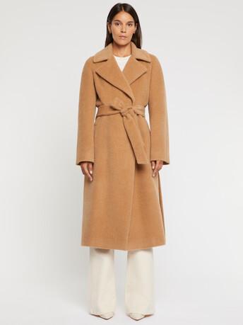 Manteau peignoir en alpaga et laine - Camel