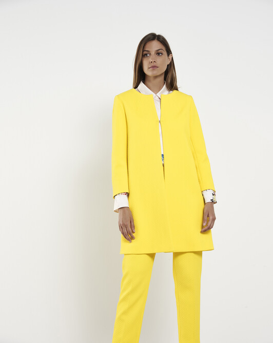 Cotton-piqué coat - Citron