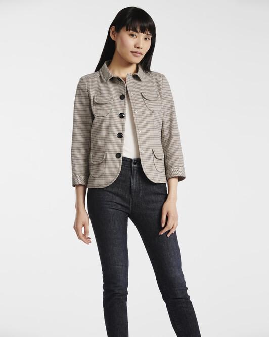 Jacket in houndstooth cotton - black / camel