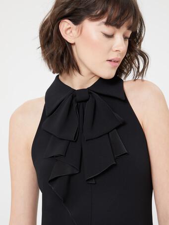 Satin-back crepe gown - Noir