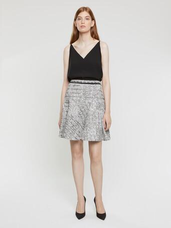 Jupe en tweed noir blanc et argent - Noir / blanc