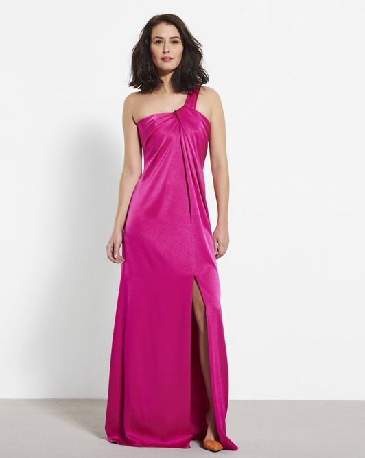 Satin-back crepe dress - Magenta