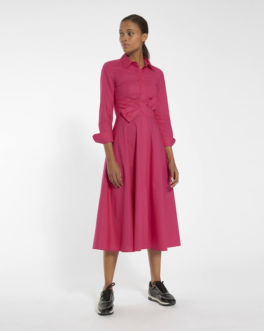 Stretch cotton poplin dress - Framboise