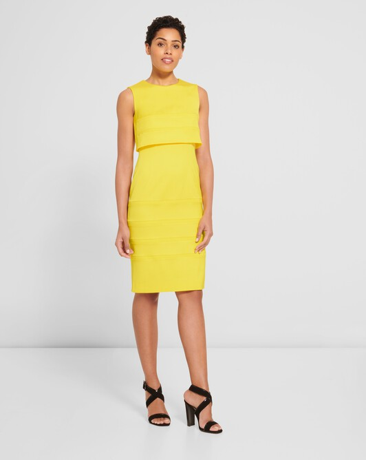 Stretch-ottoman dress - Citron