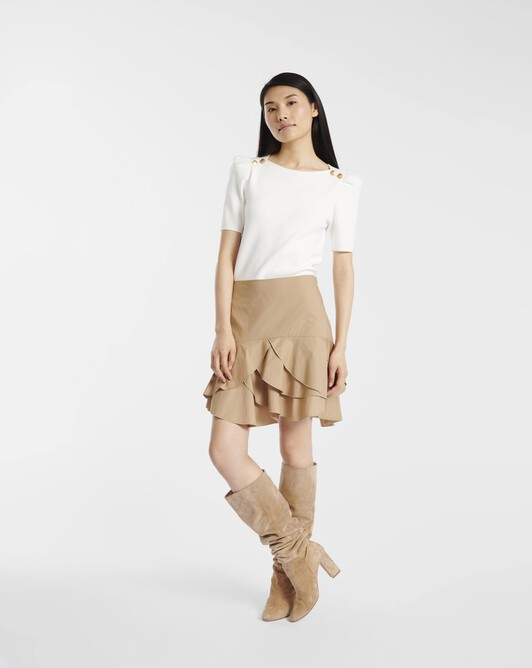 Skirt in stretch-cotton poplin - Beige