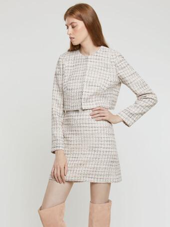 Mini-knot tweed straight-cut mini skirt - Rose pale