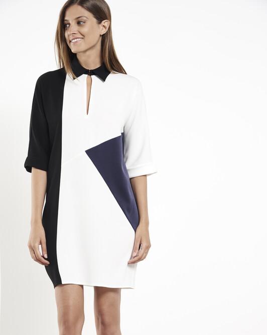 Satin-back crepe dress - Off white / black