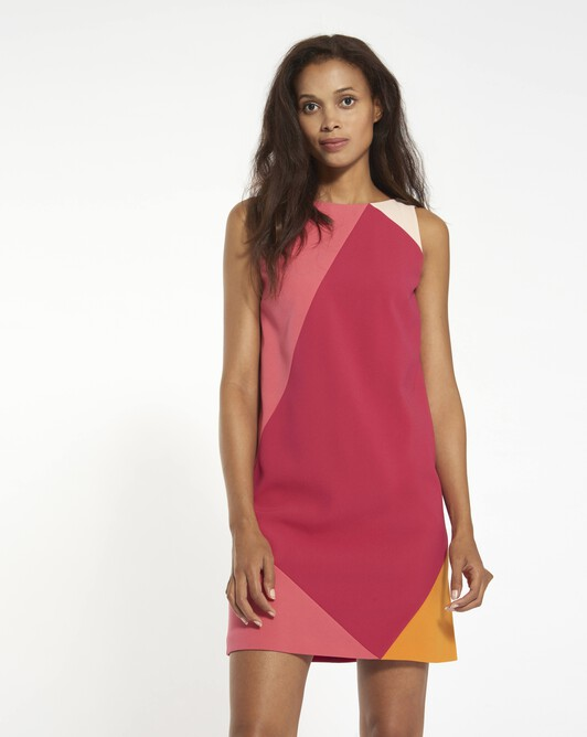 Satin-backed crêpe dress - framboise / pink