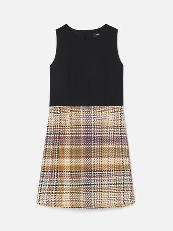 Prince of Wales checked cotton dress - Jaune / rose