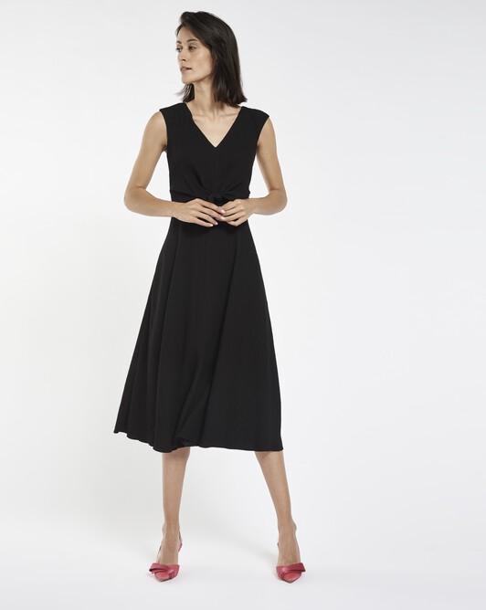 Dress in viscose seersucker - Noir