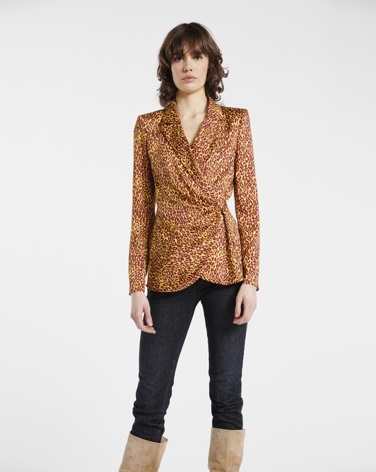 Jacket in leopard-print twill - Bordeaux / jaune