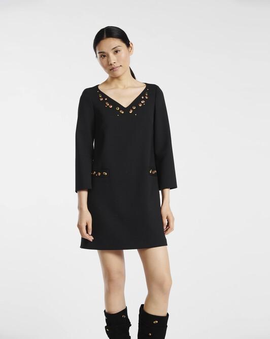 Robe en tricotine de laine - Noir