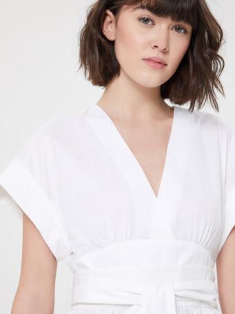 Haut en popeline satinée - Blanc