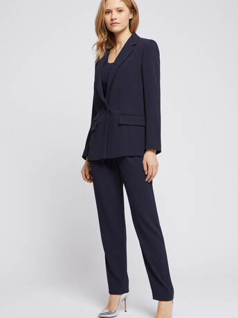 Satin-back crepe straight-leg pants - Navy blue