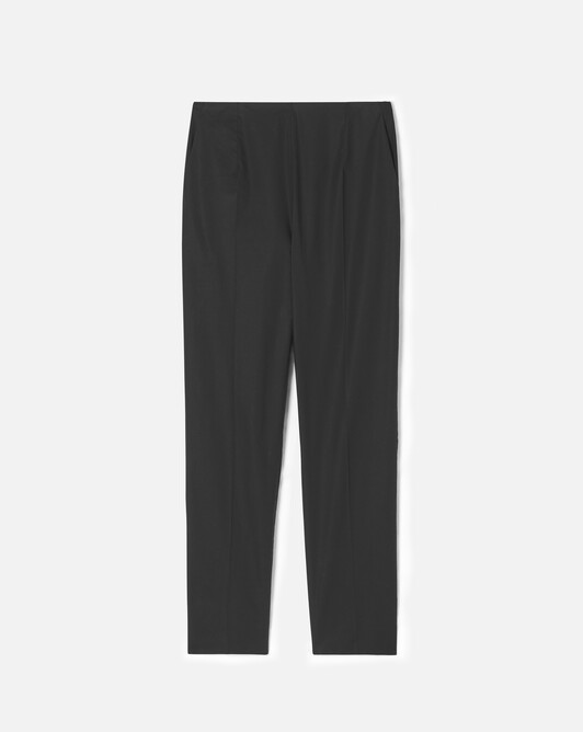 Stretch cotton poplin trousers - Noir