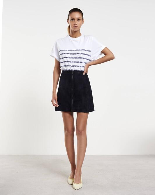 Short lambskin leather skirt - Navy blue