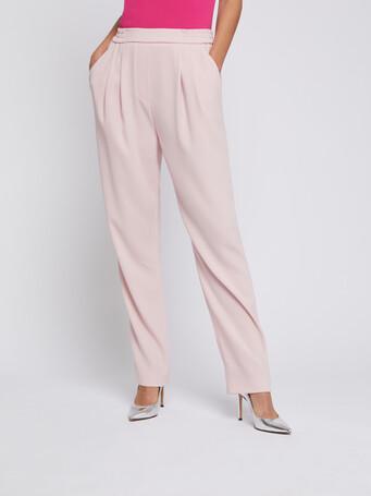Satin-back crepe straight-leg pants - Poudre
