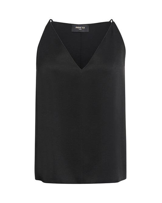 Tank top in satin-back crepe - Noir