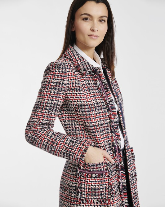 Coat in Prince of Wales checked cotton - Marine / groseille