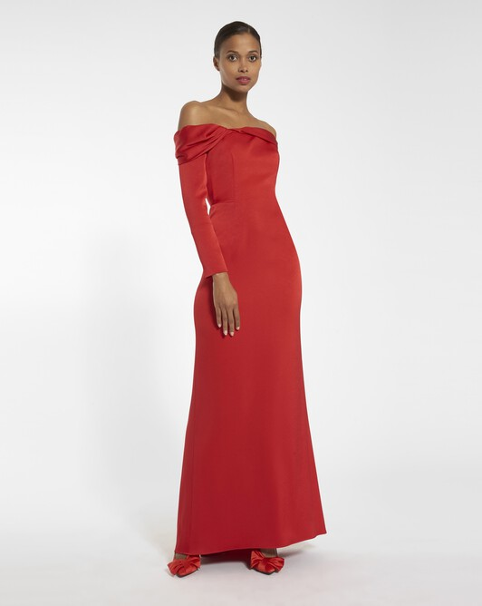 Satin-back crepe dress - Vermilion