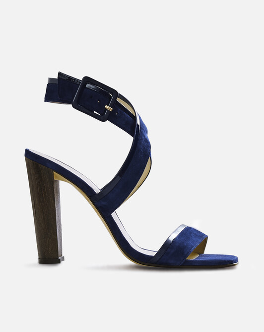 Calfskin and goatskin leather sandals - Navy blue