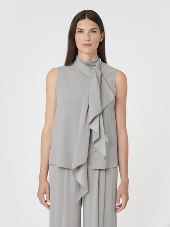 Satin-back crepe top - Cendre