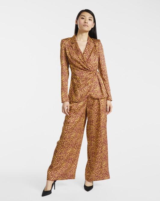 Pantalon en twill imprimé panthère - Bordeaux / jaune