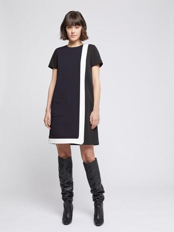 Robe graphique en tricotine stretch - Marine / noir