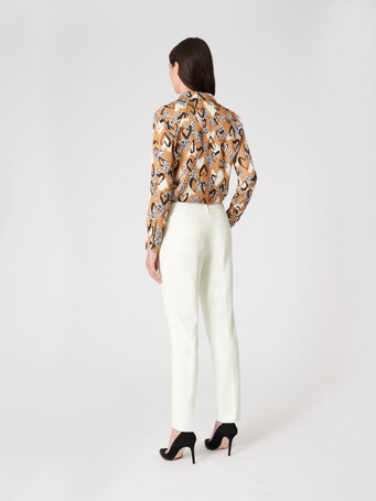 Satin-back crepe pants - Off white