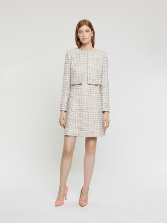 Robe courte en tweed mini nœuds - Rose pale
