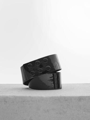 Ceinture en cuir vernis - Noir