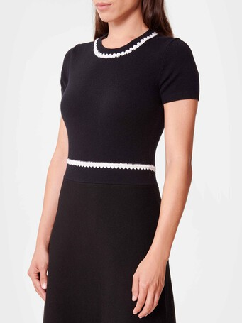Wool and cashmere dress - Noir / blanc casse