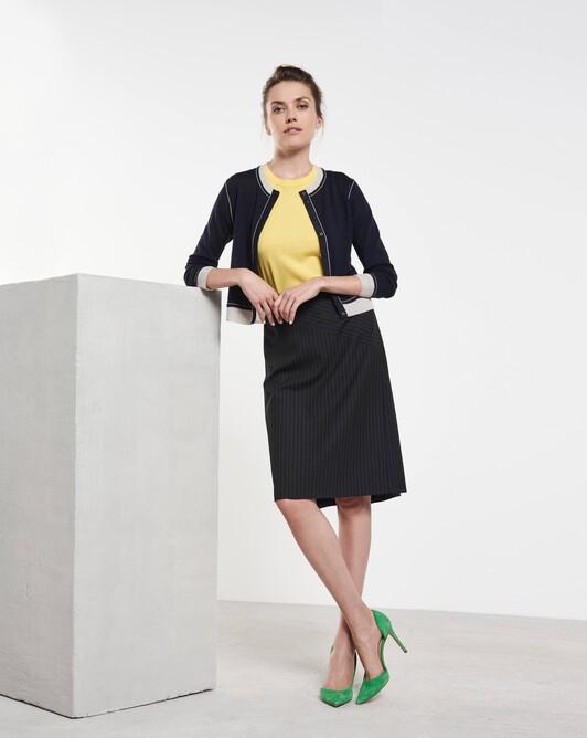 Merino wool classic cardigan - Marine / mastic