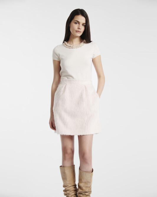 Pastel mohair skirt - Rose pale