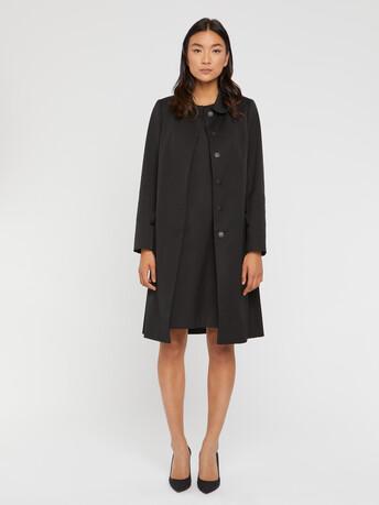 Manteau mi-long à col Claudine - Noir