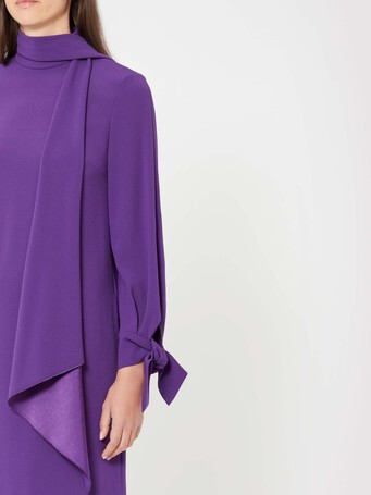 Satin-back crepe dress - Amethyste