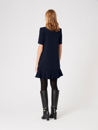 Merino wool dress - Navy blue