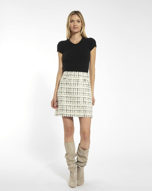 Boucle tweed and silver skirt