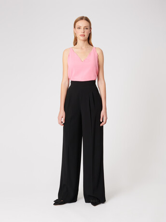 Satin-back crepe top - Bubble gum