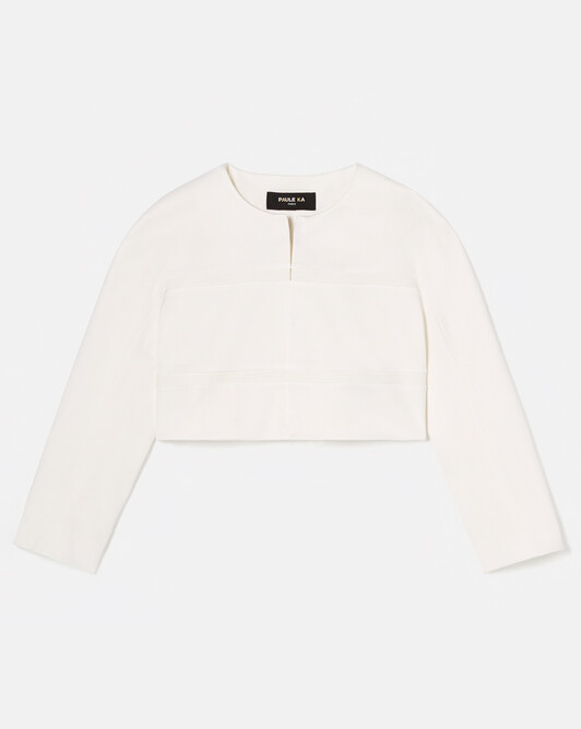 Stretch-ottoman jacket - Off white