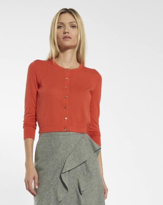 Cardigan in cashmere silk - Pasteque