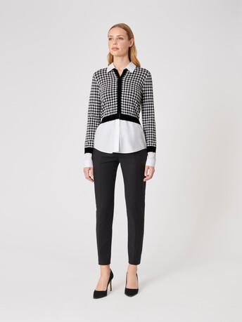 Viscose cardigan - White / black