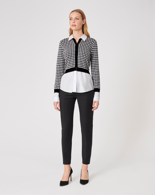 KNITTED CARDIGAN - White / black