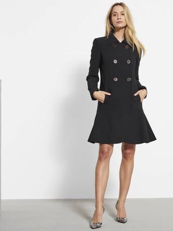 Stretch tricotine coat - Noir