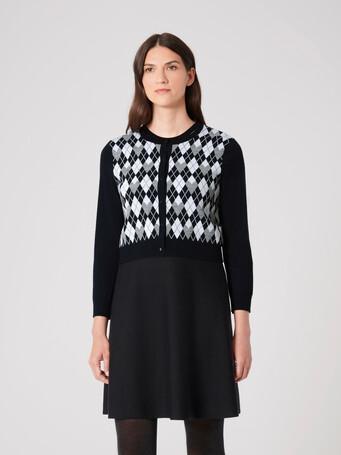 Jacquard cardigan - Noir / souris