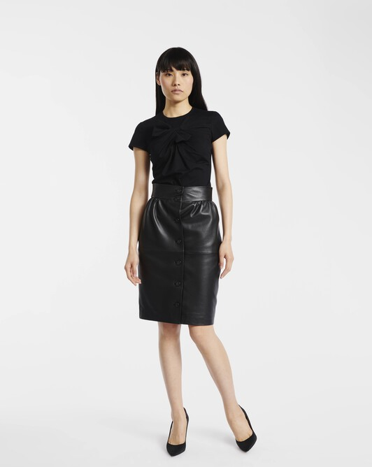 Skirt in leather - Noir